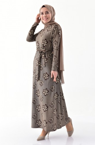 Dilber Silvery Belted Dress 9031-02 Brown 9031-02