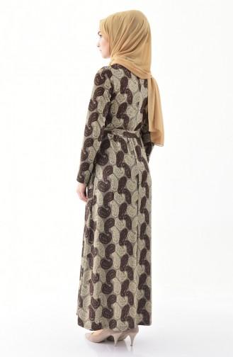 Robe a Motifs et Ceinture 9033-01 Brun 9033-01