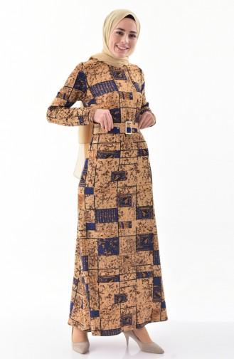 Kemerli Elbise 9034-01 Hardal 9034-01