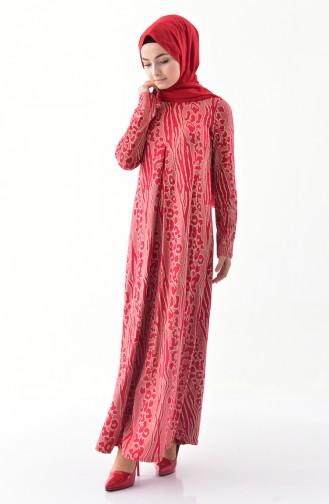 دلبر فستان بتفاصيل لامعة 9042-01 لون احمر 9042-01
