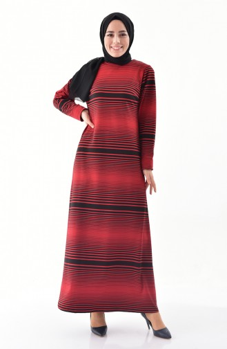 دلبر فستان بتصميم مُخطط 9044-01 لون احمر 9044-01