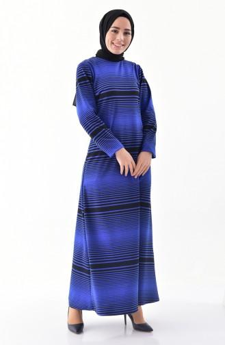 Çizgili Elbise 9044-02 Saks 9044-02