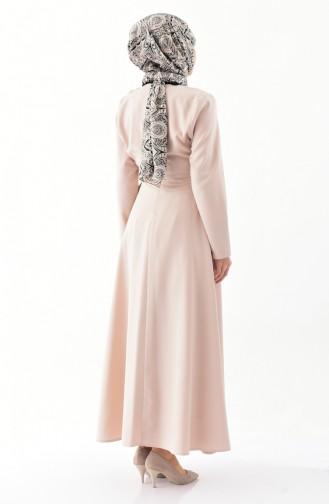 ZEN Ruffled Belted Dress 0212-03 Beige 0212-03