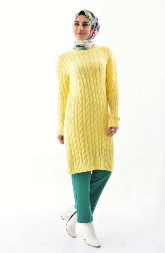 Tricot Knit Patterned Tunic 8103-02 Yellow 8103-02