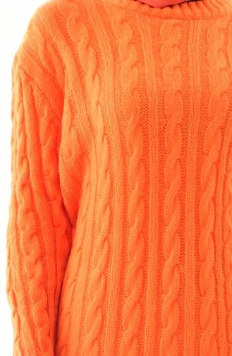 Tricot Knit Patterned Tunic 8103-05 Orange 8103-05
