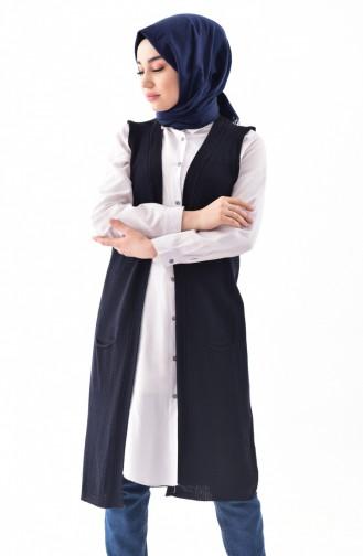 ef3ca6839b5ae Sefamerve, iLMEK Knitwear Pocketed Vest 4116-08 Navy Blue