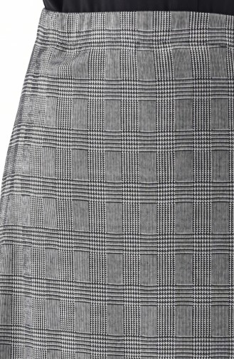 Plus size Plaid Patterned Flared Skirt 2044-01 Gray 2044-01