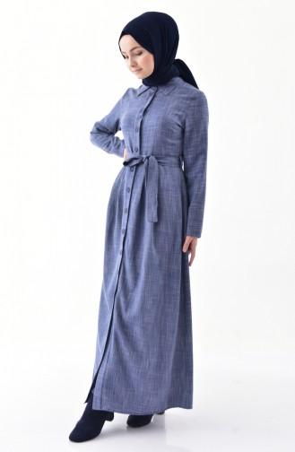 Belted Abaya 2046-05 Light Navy Blue 2046-05