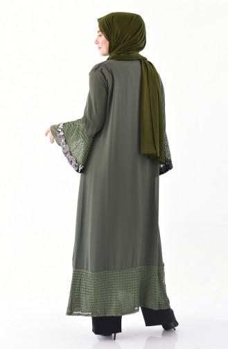 Plus Size Sequined Abaya 1059-04 Khaki 1059-04