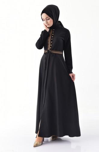 Bestickter Hijab Mantel 8887-02 Schwarz 8887-02