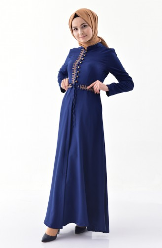 MISS VALLE Embroidered Overcoat 8887-04 Navy Blue 8887-04