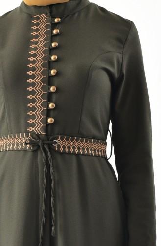 MISS VALLE Embroidered Overcoat 8887-05 Khaki 8887-05