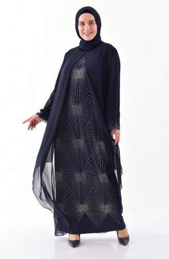 فستان بتصميم مُطبع باحجار لامعة وقياسات كبيرة 6211-01 لون كحلي 6211-01