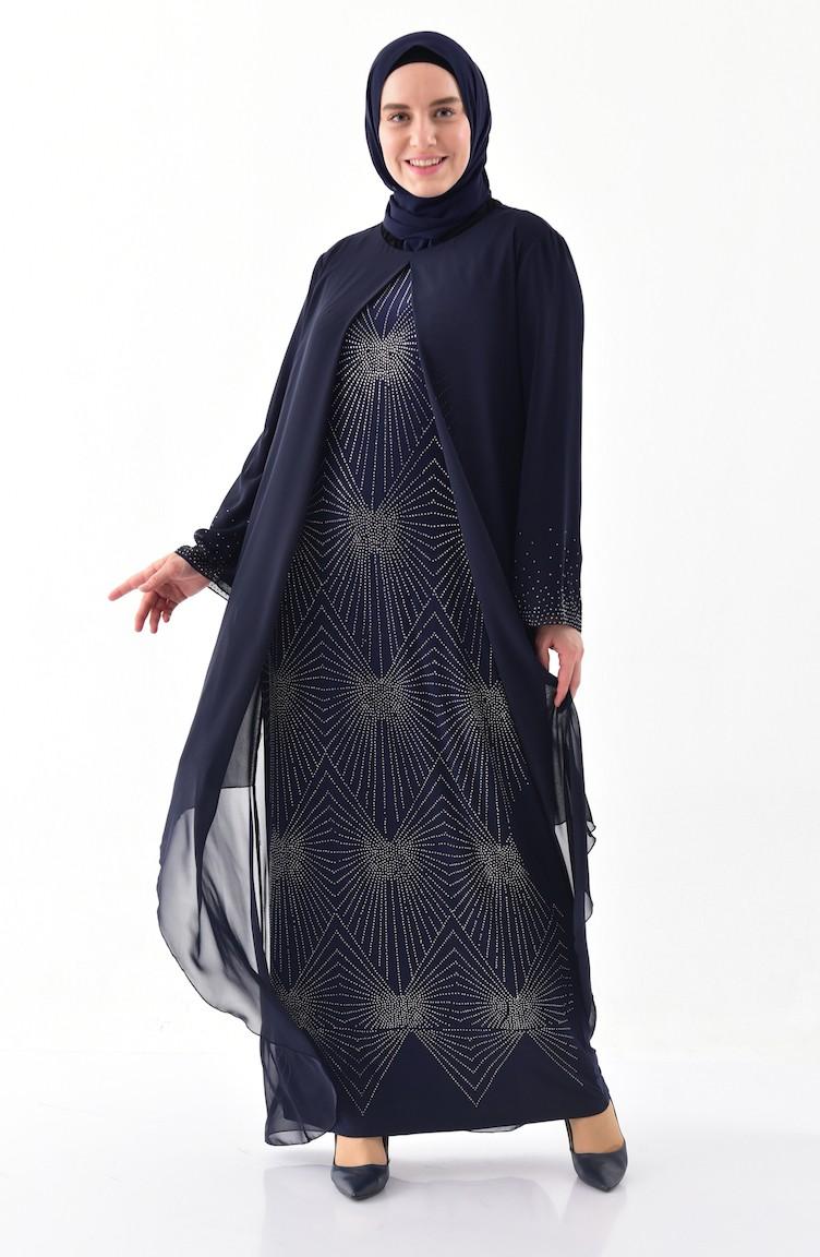 fcd36af9bcb Plus Size Stone Printed Evening Dress 6211-01 Navy Blue 6211-01