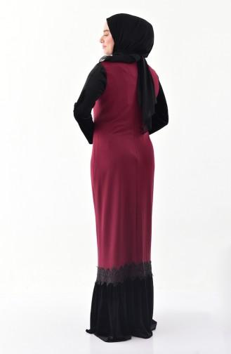 Büyük Beden Dantel Detaylı Elbise 40371-04 Bordo