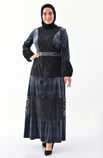 Robe Velours Grande Taille 40377-01 Fumé 40377-01
