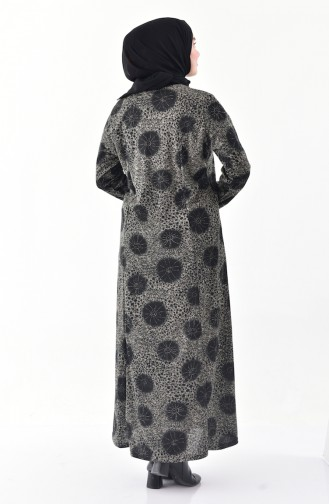 Büyük Beden Desenli Elbise 4845B-01 Füme