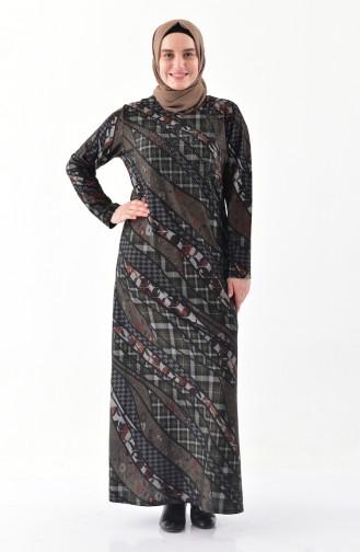 فستان بتصميم مُطبع بأحجار لامعة و بمقاسات كبيرة  4883-01 لون أخضر كاكي 4883-01