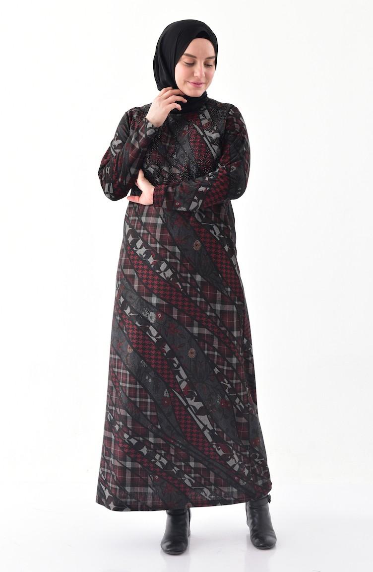 dcd9d73cf0bf7 Büyük Beden Taş Baskılı Elbise 4883-02 Bordo