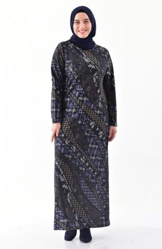 فستان بتصميم مُطبع بأحجار لامعة و بمقاسات كبيرة  4883-04 لون كحلي 4883-04
