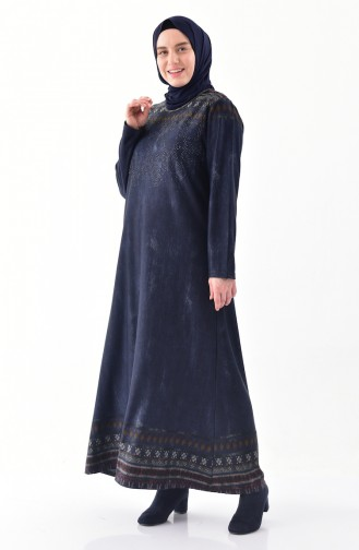 Large Size Stone Printed Dress 4883B-01 Navy Blue 4883B-01