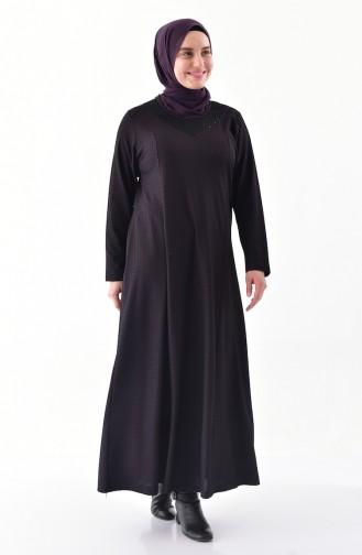 Büyük Beden Jakarlı Elbise 4884-03 Mor