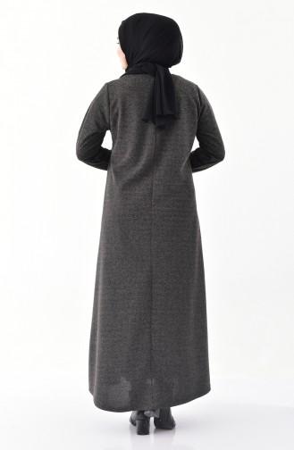 فستان بتفاصيل ازرار وبمقاسات كبيرة 4892-02 لون اسود 4892-02