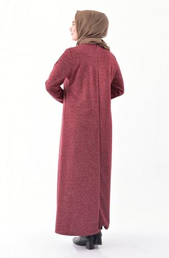 فستان بتفاصيل ازرار وبمقاسات كبيرة 4892-03 لون خمري 4892-03