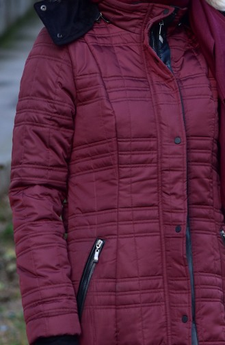 SUKRAN Pocketed Quilted Coat 35793-02 Claret Red 35793-02