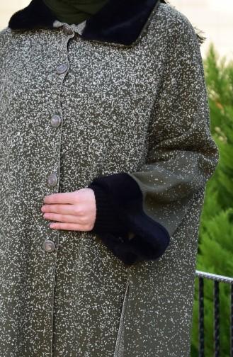 Knitwear Buttoned Poncho 0041-02 Khaki 0041-02