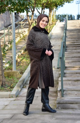 Knitwear Buttoned Poncho 0041-06 Brown 0041-06