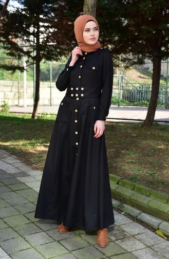 مس فالي معطف طويل بتفاصيل من الأزرار 8837-01 لون أسود 8837-01
