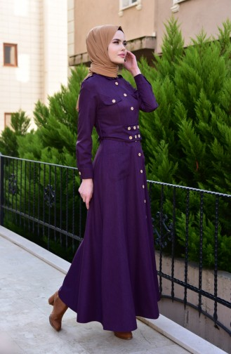 MISS VALLE Button Detailed Overcoat 8837-03 Purple 8837-03