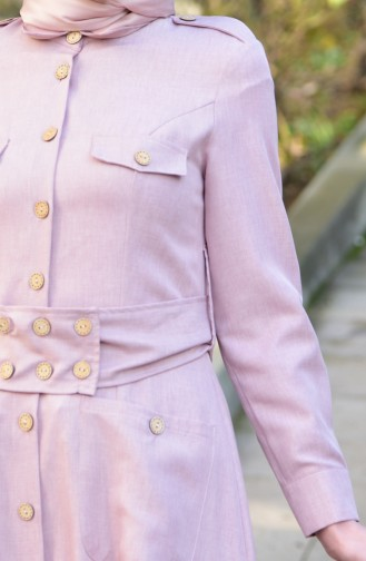 MISS VALLE Button Detailed Overcoat 8837-04 Powder 8837-04