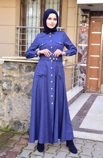 MISS VALLE Button Detailed Overcoat 8837-05 Navy Blue 8837-05