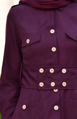 MISS VALLE Button Detailed Overcoat 8837-06 Claret Red 8837-06