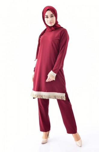 Tasseled Tunic Trousers Double Suit 19002-02 Claret Red 19002-02