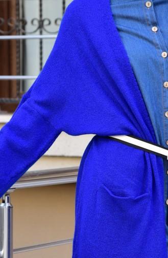 Gilet Tricot avec Poches 8011-04 Bleu Roi 8011-04