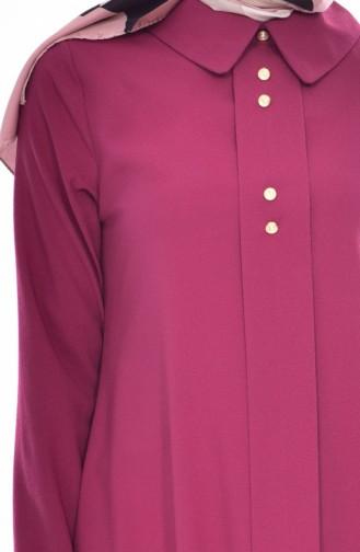 Shirt Collar Pleated Tunic 1162-04 Plum 1162-04