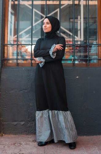 فستان بتصميم سادة مع تفاصيل مربعات 3302-03