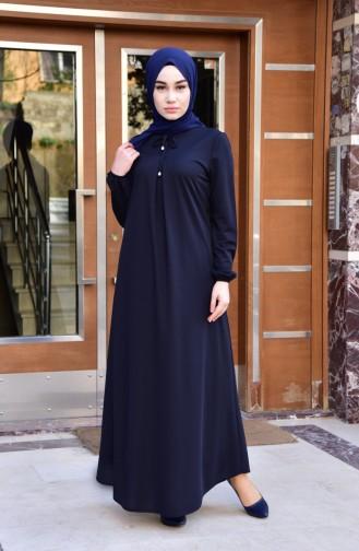 EFE Elastic Sleeve Dress 7858-03 Dark Navy Blue 7858-03