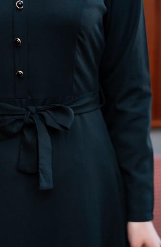 Kuşaklı Elbise 8214-08 Siyah 8214-08