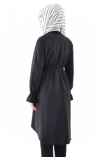 تونيك غير مُتماثل الطول بتصميم مطاط 0003-01 لون اسود 0003-01