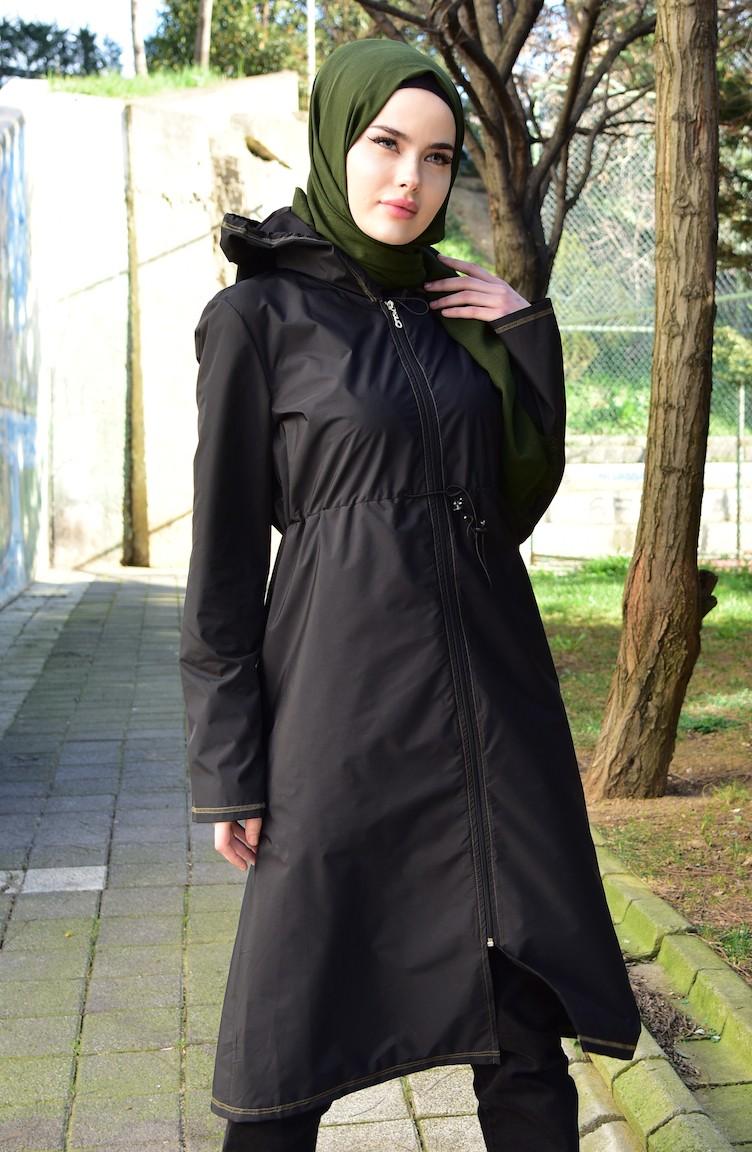 7b003fa69f0f Hooded Raincoat with Bag 6812-01 Black Khaki 6812-01