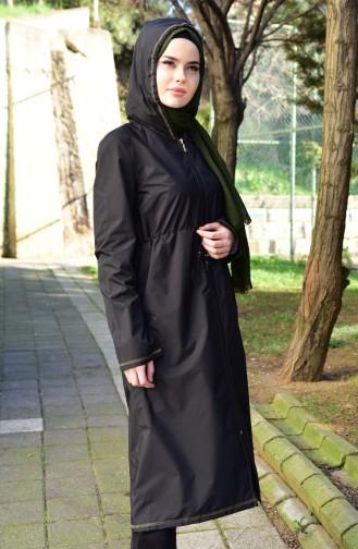 Waist Elastic Raincoat 6811-02 Black Khaki 6811-02