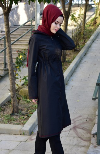 Hooded Raincoat with Bag 6812-02 Black Claret Red 6812-02