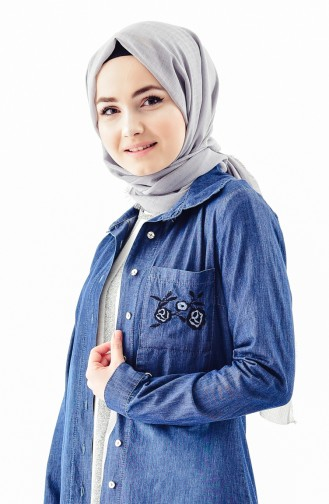 Embroidered Jeans Jacket 0714-01 Navy Blue 0714-01