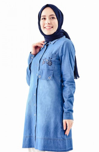 Embroidered Jeans Jacket 0714-02 Jeans Blue 0714-02
