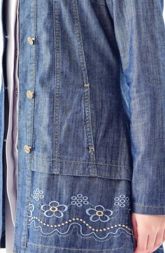جاكيت جينز بتفاصيل مُطرزة 6033-01 لون كحلي 6033-01