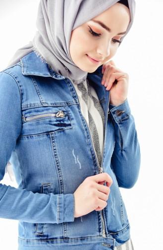 Zippered Jeans Jacket 6037-01 Blue Jeans 6037-01